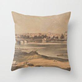 Vintage Pictorial View of Richmond VA (1853) Throw Pillow
