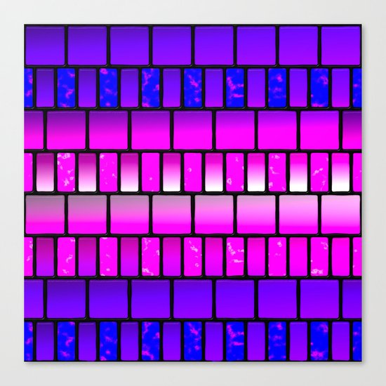 Pink and Blue Offset Tiles Pattern Canvas Print