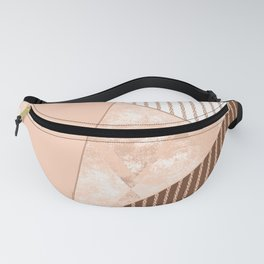 Valencia 2. Abstract Beige, white, brown geometric pattern. Fanny Pack