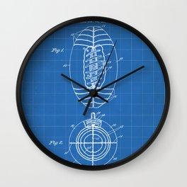 American Football Patent - Football Art - Blueprint Wall Clock