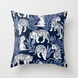 Nouveau white tigers // navy blue background blue leaves silver lines white animal Throw Pillow