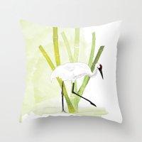 crane Throw Pillows featuring Crane by Xiao Twins