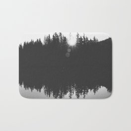 Wooded Lake Reflection Black and White Bath Mat