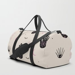 Trust the universe magic hand third eye moon and stars pastel sand pink Duffle Bag