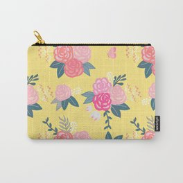 Sweet Roses on Yellow Carry-All Pouch