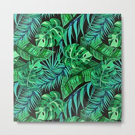 Blue and Green Ferns and Tropical Leaves Metal Print