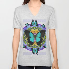 PURPLE AMETHYST BLUE BUTTERFLY MANDALA  WHITE ART Unisex V-Neck