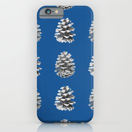 Monochrome Pine Cones Winter Blue iPhone Case