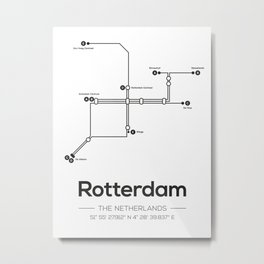 Rotterdam Subway Map Metal Print