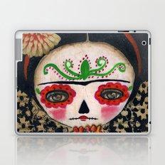 Frida The Catrina And The Skull - Dia De Los Muertos Mixed Media Art Laptop & iPad Skin