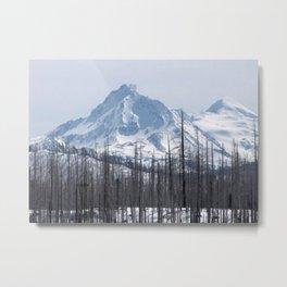 Snow On The Three Sisters Mountains 282 Metal Print