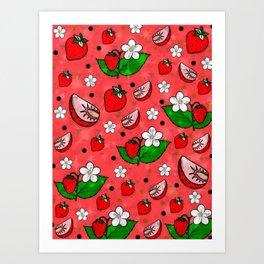 Strawberry Popart by Nico Bielow Art Print