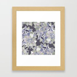 Mauve gray lavender silver watercolor floral Framed Art Print