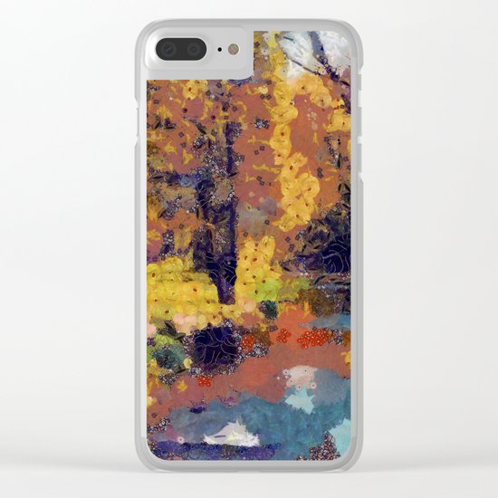 Autumn pond in the park Clear iPhone Case