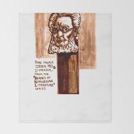 Rare Henrik Ibsen Pez dispenser illustration Throw Blanket