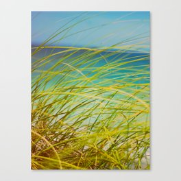Seagrass By The Ocean Blue Waves Colorful Green To Blue Gradient Canvas Print