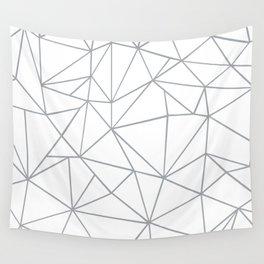 Ab Outline 2 Grey on White Wall Tapestry