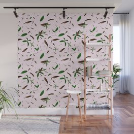 leaves feat. millennial pink Wall Mural