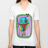 the who V-neck T-shirts featuring who? by Le Petit Juif