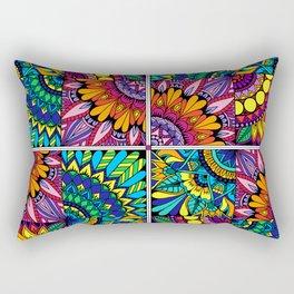 Color Block Puzzle Mandalas Rectangular Pillow
