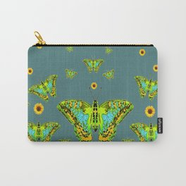 BLUE-GREEN-YELLOW PATTERNED MOTHS YELLOW SUNFLOWERS Carry-All Pouch