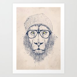Cool lion Art Print