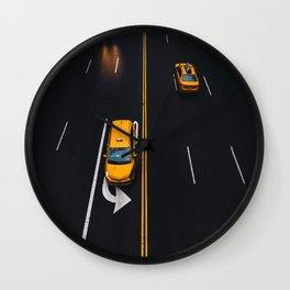Taxi on the Street (Color) Wall Clock