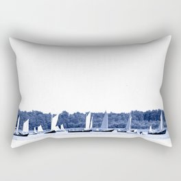 Dutch sailing boats in Delft Blue colors Rectangular Pillow