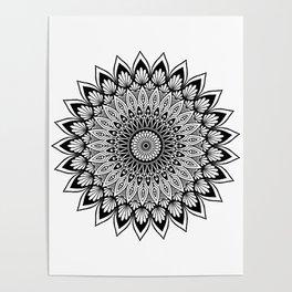 Sacred Lotus Black and White Mandala - LaurensColour Poster