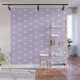 Lilac background with small white clouds pattern Wall Mural