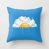 breakfast Throw Pillows featuring Breakfast by carbine