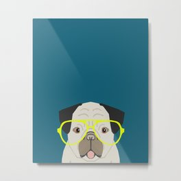 Emerson - Pug with neon Hipster Glasses, Cute Retro Dog, Dog, Husky with Glasses, Funny Dog Metal Print