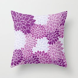 Dahlia Flowers, Petals, Blossoms - Blue Purple Throw Pillow