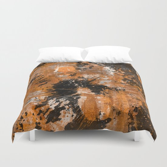 Rusting Darkness - Abstract in gold, black and white Duvet Cover