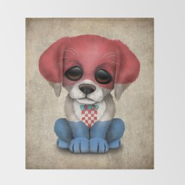 Cute Puppy Dog with flag of Croatia Throw Blanket