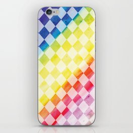 Rainbow Checkers - Watercolor/Digital Pattern iPhone Skin