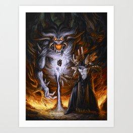 Necromancer Raising Demon by BAXA Art Print