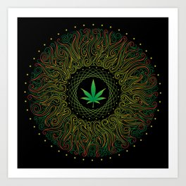 Magic plant. Marijuana leaf. mandala Art Print