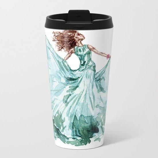 Fashion Blue Turquoise Teal Dress Girl Metal Travel Mug