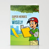 super heroes Stationery Cards featuring Super Heroes Act Wisely by youngmindz
