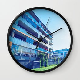 Apartment residential buildings with outdoor facilities Wall Clock