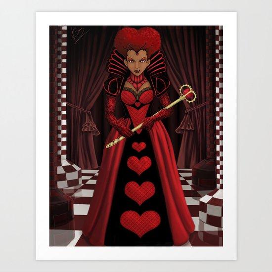 Ebony Queen of Hearts  Art Print
