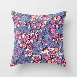 Sweet Spring Floral - soft indigo & candy pastels Throw Pillow