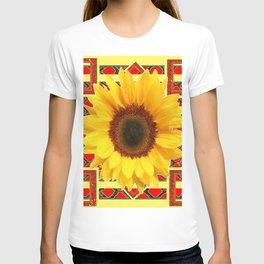 WESTERN RED ART DECO YELLOW SUNFLOWER ART T-shirt