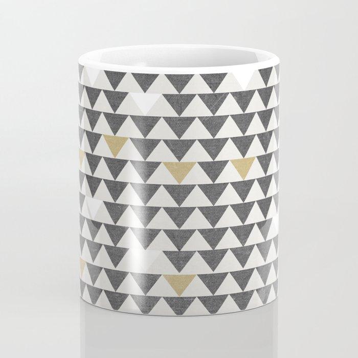 Geometric Triangle Charcoal Gold And White Pattern Coffee Mug