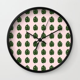 pink monstera leafs Wall Clock