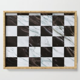 Zig zag checkered pattern with marbling Serving Tray