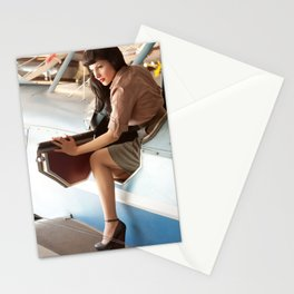 """Flight Deck"" - The Playful Pinup - Airplane Pilot Pin-up Girl by Maxwell H. Johnson Stationery Cards"
