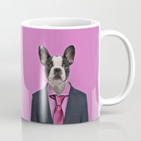 french bulldog Mugs featuring French bulldog by Life on White Creative