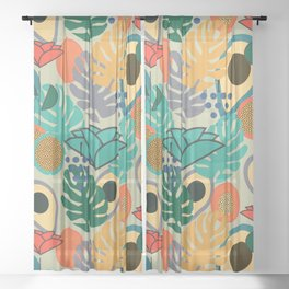 Monstera, fruits and flowers Sheer Curtain